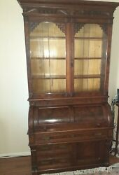 Antique Two Piece Cylinder Front Secretary W/ Bookcase Top