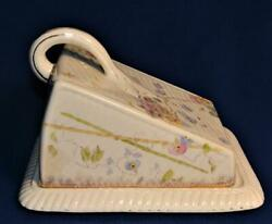 Antique Signed 1879 Germany Porcelain Handled Covered Cheese Keeper Butter Dish