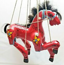 Antique Wooden Horse Marionette, Hand Carved, Working