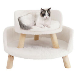 Round Elevated Cat Chair Cat Stool Bed with Waterproof Comfortable Cozy Pad Mat