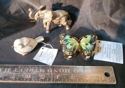 3 Trinket Boxes Ring Holder New Heavy Metal Butterfly Elephant Bird Ab2-2