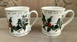 2 Portmeirion The Holly And The Ivy Mugs Breakfast Coffee 10 Oz Made In Britain
