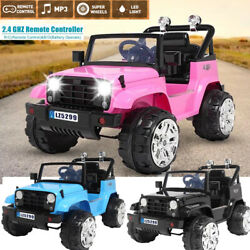 Electric 12v Battery Kid Ride On Truck Car Toy Jeep Mp3 Led Remote Boy Girl Gift