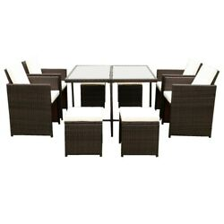Gfd Home - 9 Pieces Patio Dining Sets Outdoor Space Saving Rattan Chairs With...