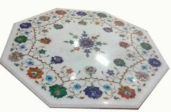 30 Stone Inlay Blue Lapis Marble Coffee Center Table Top Octagon Antique Kl