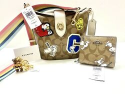 Nwt Snoopy Coach Peanuts 3pc Lot Addie Purse Charlie Keychain Snap Wallet Wow