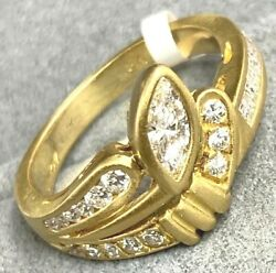 Marquise And Round Diamond 18k Yellow Gold Asymmetric Textured Bypass Ring Size 7
