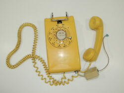 Vtg Western Electric Wall Mount Telephone Yellow Rotary 554 Bell System Canary