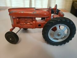 Vintage Hubley Red Toy Metal Diecast Toy Farm Tractor