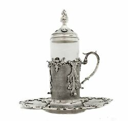 925 Sterling Silver And Glass Leaf Applique Crown Top Handcrafted Tea Set And Tray