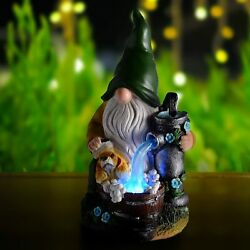 Handmade Resin Garden Gnome Statues With Solar Led Lights, Outdoor Porch Decor