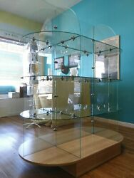 Retail Store Display 5and039 L X 5.5and039 High X 2.5and039 - 3 Tier Glass Oval Shelving