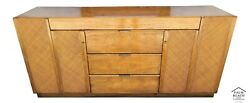 Vintage Founders Mid Century Modern Dresser Credenza With Glass Top And Mirror