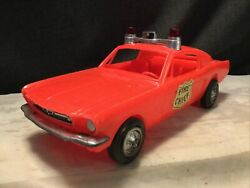 """Large 11"""" Vintage Processed Plastic 1965 Ford Mustang Fastback Fire Chief Car"""