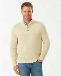 New Menand039s Sz M Tommy Bahama Isidro Button Mock Sweater French Clay Msrp 145