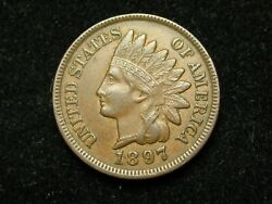 2021 Sale Au 1897 Indian Head Cent Penny W/ Diamonds And Full Liberty 144p