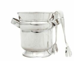 Fine Italian Sterling Silver Modern Round Ice Bucket With Tongs