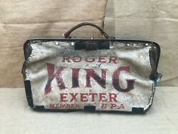 Rare Vintage 1950s Named Roger King Leather Bookies Bag