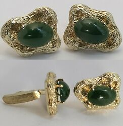 Vintage 1960and039s Solid 14k Yellow Gold Natural Jade Cufflinks Signed Ab
