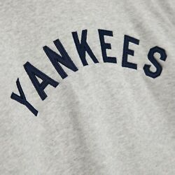Mitchell And Ness New York Yankees Fusion Fleece Grey And Blue Hoodie