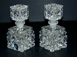 Vintage Irice Imports Set Of 2 Hand Cut Glass Perfume Bottle With Stopper Japan