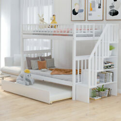Gfd Home - Twin Over Twin Bunk Bed With Trundle And Storage, White - Sm000304aak