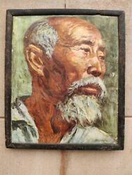 Vintage Vie Robinson Chinese Man With White Beard Painting Print Framed