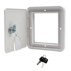 White Square Electric Cable Hatch With Back And Keys