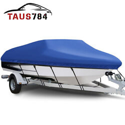 17and039-19and039 Heavy Duty Waterproof Boat Cover Peva V-hull Trailerable Beam 95and039and039 Blue