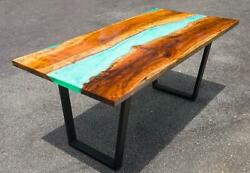Epoxy Resin Dining Table Top Live Edge Acacia Wood River Table Dine Furniture A2