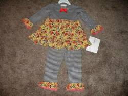 Bonnie Jean Baby Toddler Gray Floral Stripe Boutique Outfit Set Size 24m 24 Nwt