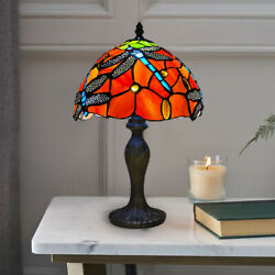 Red Dragonfly Style 10 Inch Table Lamp Stained Glass Shade For Room Uk