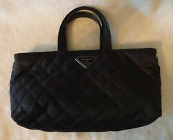 Modella Cosmetic Handled Bag Brown Quilted Zipper 12 Inch X 6 Inch NWOT $1095.00