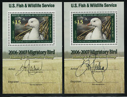 Rw73b 15 Duck Stamp Of 2006, Two Artist-signed Souvenir Sheets, Nh Mint,cv 190