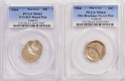 2 Coins Pcgs 10c 1964 Roosevelt Dime Mated Pair Flip-over D/d Ms63 And Ms64