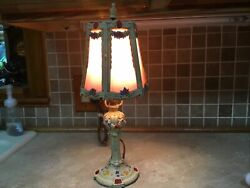 """Antique Victorian Cast Iron Floral W/ Roses Basket Table Lamp 16"""" Pink Shade"""