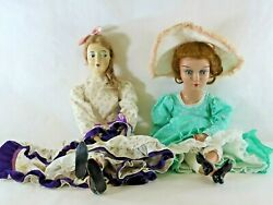 """Pair Of Large Antique 28"""" And 26"""" Composition Boudoir Bed Dolls"""