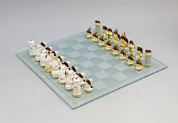 9941730 Porcelain Figurine Chess Game Mice White Vs. Frogs Brown Ens Hca.2 3/8in