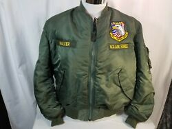Air Force Ma-1 Bomber 37th Bomb Squadron Green Reversible Military Field Jacket