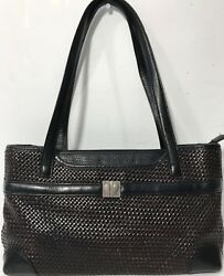 Brighton Collectibles Purse 713928 Brown Black Western Satchel Woven Leather