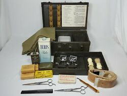 Ww2 Us Army M-1944 Barbers Kit W/ Case And Several Barber Instruments Rare