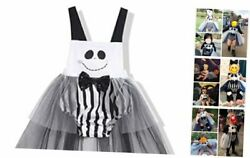 Baby Girl Halloween Outfits Smile Stripe Romper Bodysuit With Headband 3pcs