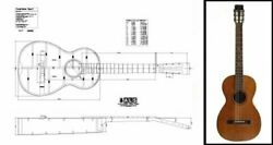 Plan Of A Vintage Martin-style Parlor Parlour Acoustic Guitar - Full Scale Print