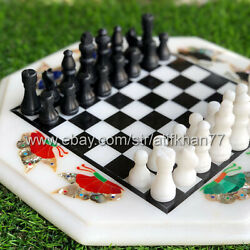 Chess Set With Board Marble Inlay Butterfly Side Table Premium Vintage Game