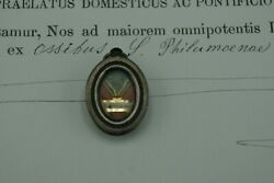 Anddagger 1898 Coa + St Philomena Sterling Silver Reliquary 1st Class Relic Document Anddagger