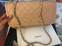 100% Small Authentic beige blush Chanel Bag with chain and leather strap. $3999.00