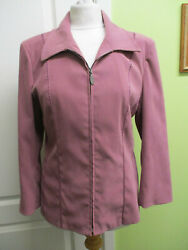 Size 12 Womens Lightweight Zip Front Jacket In Dusky Pink By Reflections