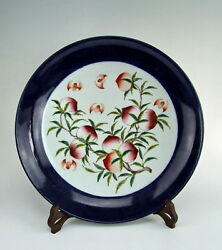 Chinese Antique Blue Glazed Famille Rose Porcelain Plate With Peach Deco