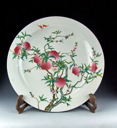 Chinese Antique Famille Rose Porcelain Plate With Peach Motif Deco
