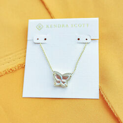 Hot Kendra Scott Lillia Butterfly Gold Dichroic Glass Pendant Necklace